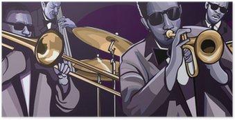 Poster Jazzband met trombonne trompet contrabas en drum