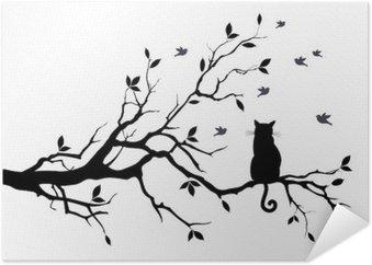 Poster Katt på ett träd med fåglar, vektor