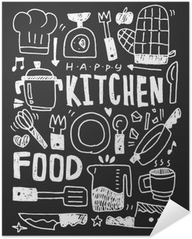 Poster Kitchen elements doodles hand drawn line icon,eps10