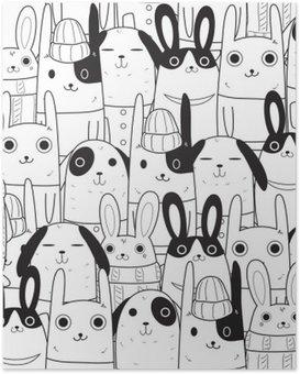 Poster Konijn naadloos patroon