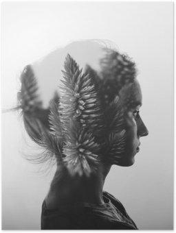Poster Kreativa dubbel exponering med porträtt av ung flicka och blommor, svartvitt