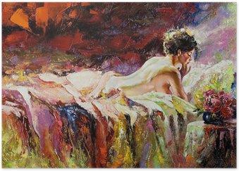 Poster La jeune fille nue pose sur un lit