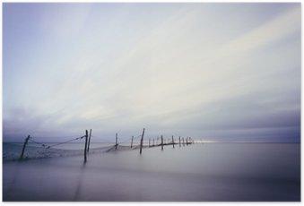 Poster Langzeitbelichtung am Strand mit Fischer Réutilisation