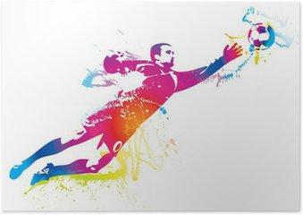 Poster Le gardien de but de football attrape le ballon