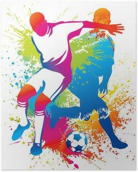 Poster Les joueurs de soccer avec un ballon de soccer