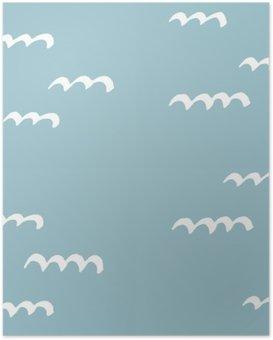 Poster Les modèles sans couture dessinés à la main. Motif pour une utilisation sur le papier d'emballage, des cartes de vœux et des articles-cadeaux