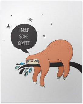 Poster Leuke hand getrokken luiaards illustraties, grappige vector kaart ontwerp