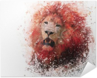 Poster Lion Head watercolor