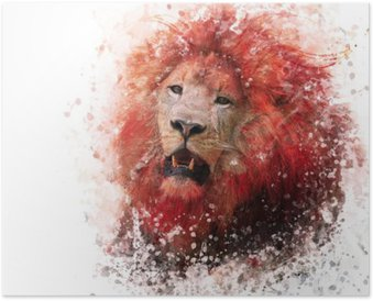 Lion Head watercolor Poster