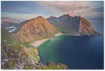 Poster Lofoten Islands. Image de Kvalvika Plage prise du mont Ryten au coucher du soleil.