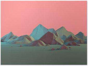 Poster Low-Poly 3D Landschap van de Berg met Pastels