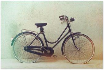 Poster Magnifique vieille rétro vélo rouillé avec des couleurs de l'effet impressionnant sur