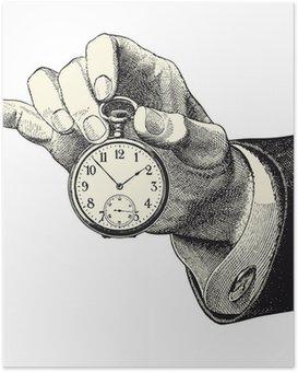 Poster Main d'homme tenant une montre