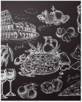 Poster Main dessiné croquis illustration pizza sur tableau noir