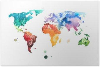 Póster Mano acuarela dibujada ilustración de mapa del mundo de la acuarela.