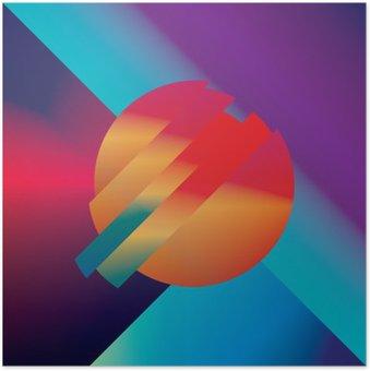 Poster Materiaal ontwerp abstracte vector achtergrond met geometrische isometrische vormen. Levendig, helder, glanzend kleurrijk symbool voor behang.