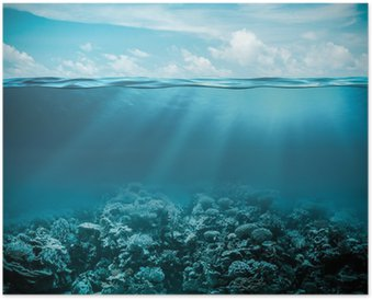 Poster Mer ou de l'océan sous la nature de fond profonde