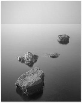 Poster Minimaliste paysage brumeux. Noir et blanc.