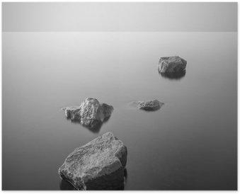 Poster Minimalistisch mistige landschap. Zwart en wit.