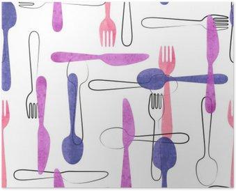 Póster Modelo inconsútil de la acuarela de la cuchillería en colores rosa y morado. Vector de fondo con cucharas, tenedores y cuchillos.