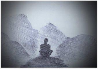 Poster Moine bouddhiste dans les montagnes