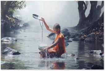 Poster Monnik play water