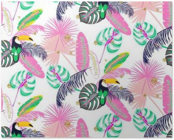 Monstera tropic pink plant leaves and toucan bird seamless pattern. Exotic nature pattern for fabric, wallpaper or apparel. Poster