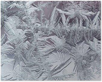 Poster Mooie winter ijzige patroon gemaakt van brosse transparante kristallen op het glas