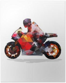 Poster Moto, géométrique abstrait vecteur silhouette. balade en moto
