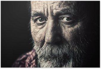 Poster Mycket gamla hemlösa äldre man porträtt