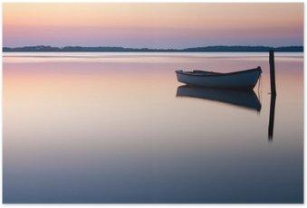 Poster Mystieke zee. Abstracte natuurlijke achtergronden. Moon scène na zon
