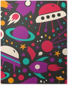 Poster Naadloos contrast kosmische patroon