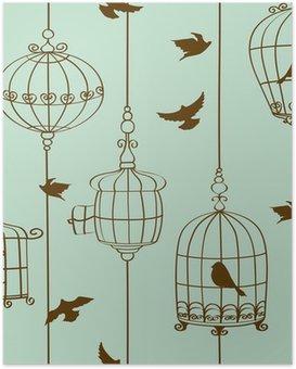 Poster Naadloos patroon van vogels en kooien
