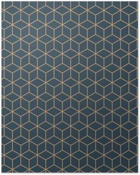 Poster Naadloos tan blauw en bruin isometrisch blokjes patroon vector