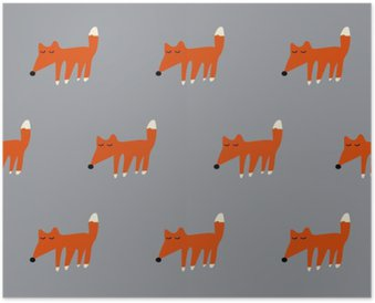 Poster Naadloze leuke vos patroon