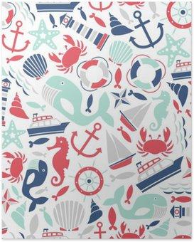 Poster Naadloze patroon met zee iconen