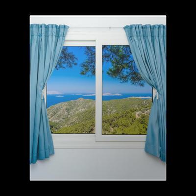 poster nature paysage avec une vue travers une fen tre avec des rideaux pixers nous. Black Bedroom Furniture Sets. Home Design Ideas