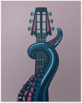 Poster Octopus tentakel houdt een gitaar riff.