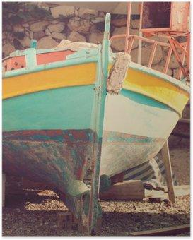 Poster Oude boot, abstracte vintage achtergrond - impressies van Griekenland