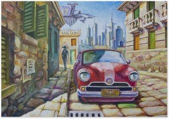 Poster Oude rode auto op de zonnige straat