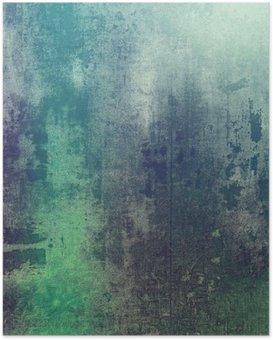 Poster Oude textuur als abstracte grunge achtergrond. Met verschillende kleurpatronen: groen; paars Violet); grijs; cyaan