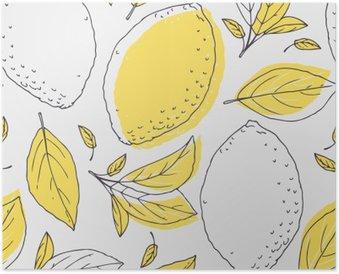 Poster Outline pattern avec du citron et des feuilles dessiné à la main. fruits Doodle pour le paquet ou la conception de cuisine