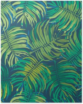 Poster Palm Leaves Tropic Seamless Vector Motif