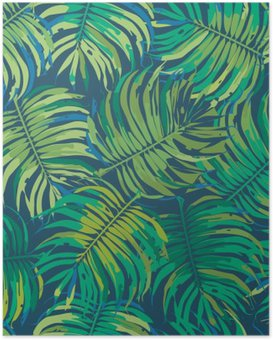Palm Leaves Tropic Seamless Vector Pattern Poster