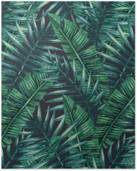 Póster Palmera tropical de la acuarela deja patrón transparente. Ilustración del vector.