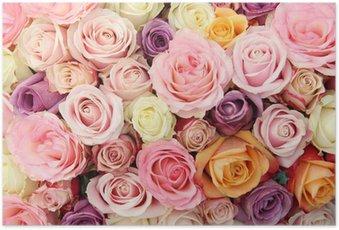 Poster Pastel bruiloft rozen