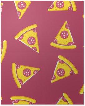 Poster Patroon tijd van de pizza