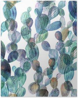 Poster Patroon van de cactus in aquarel stijl