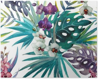 pattern orchid hibiscus leaves watercolor tropics Poster