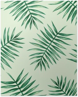 Poster Paume tropical Aquarelle feuilles seamless pattern. Vector illustration.